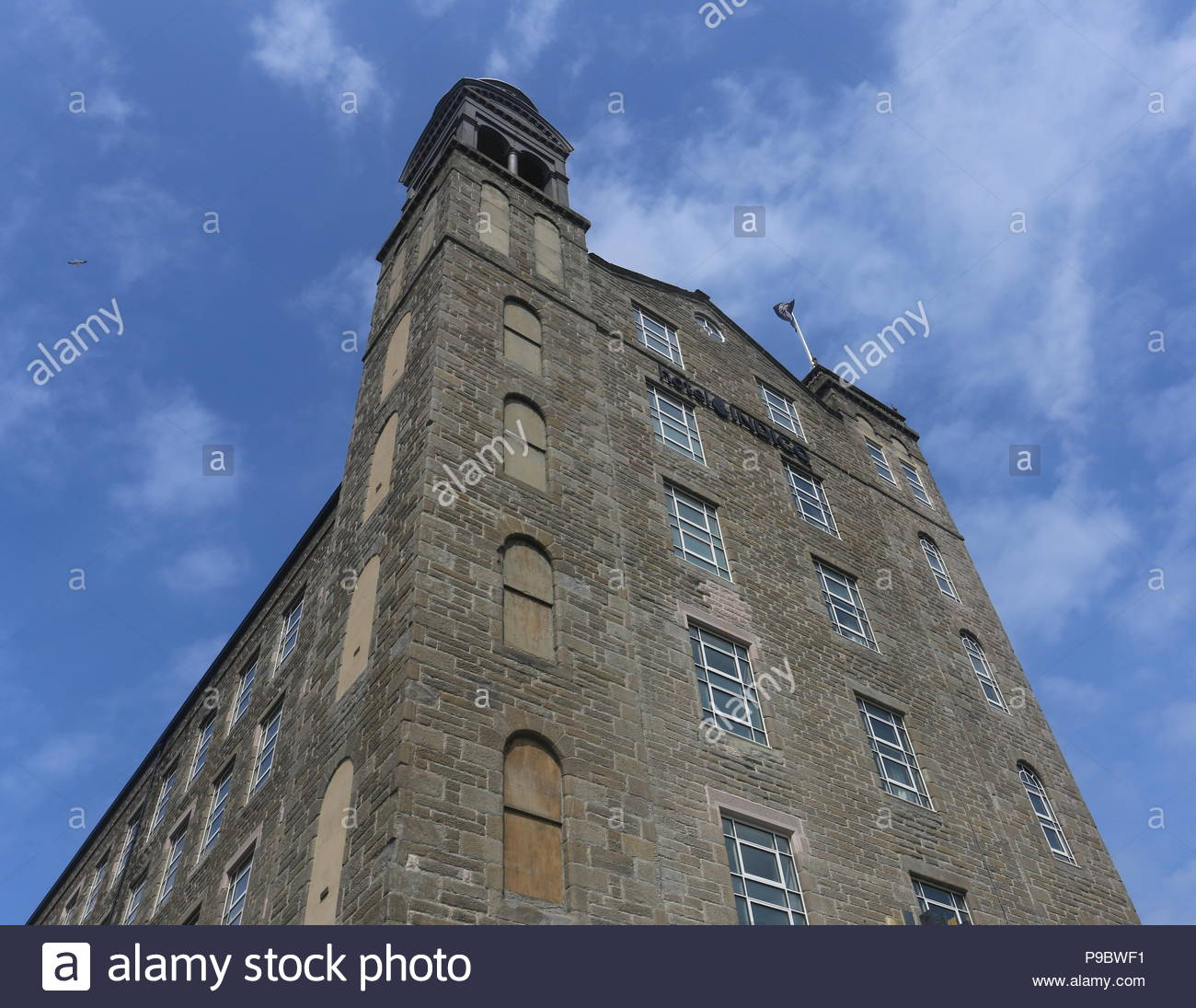 Exterior of Hotel Indigo with logo and flag Dundee Scotland  July 2018 Stock Photo