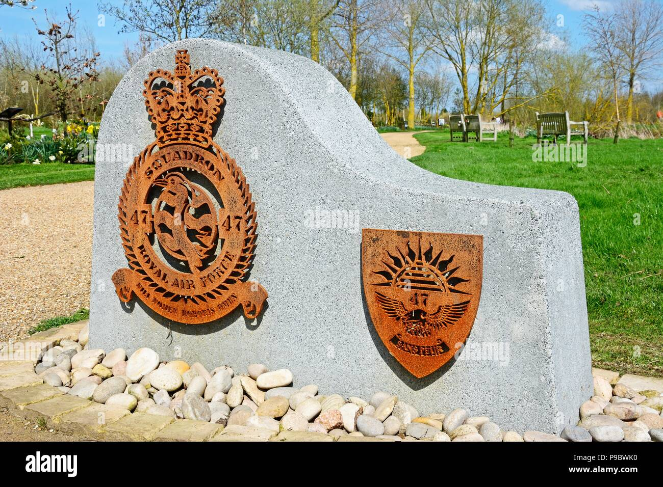 Royal Air Force Squadron memorial at the National Memorial Arboretum, Alrewas, Staffordshire, England, UK, Western Europe. - Stock Image