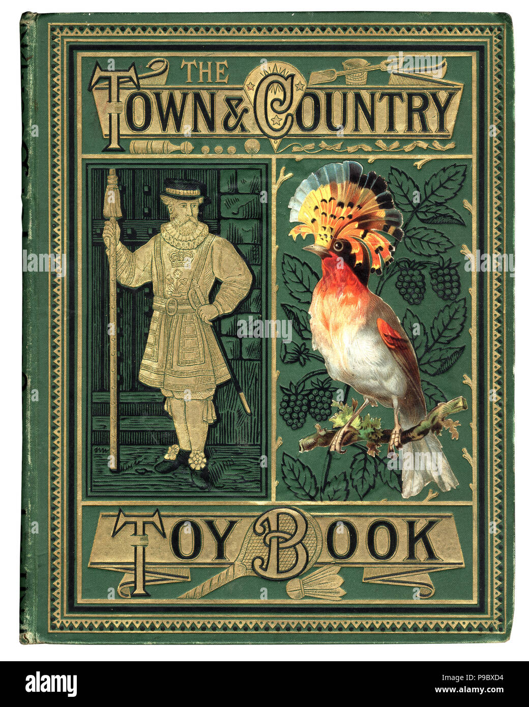 Cover of the victorian book town and country toy book, beefeater and tropical bird - Stock Image