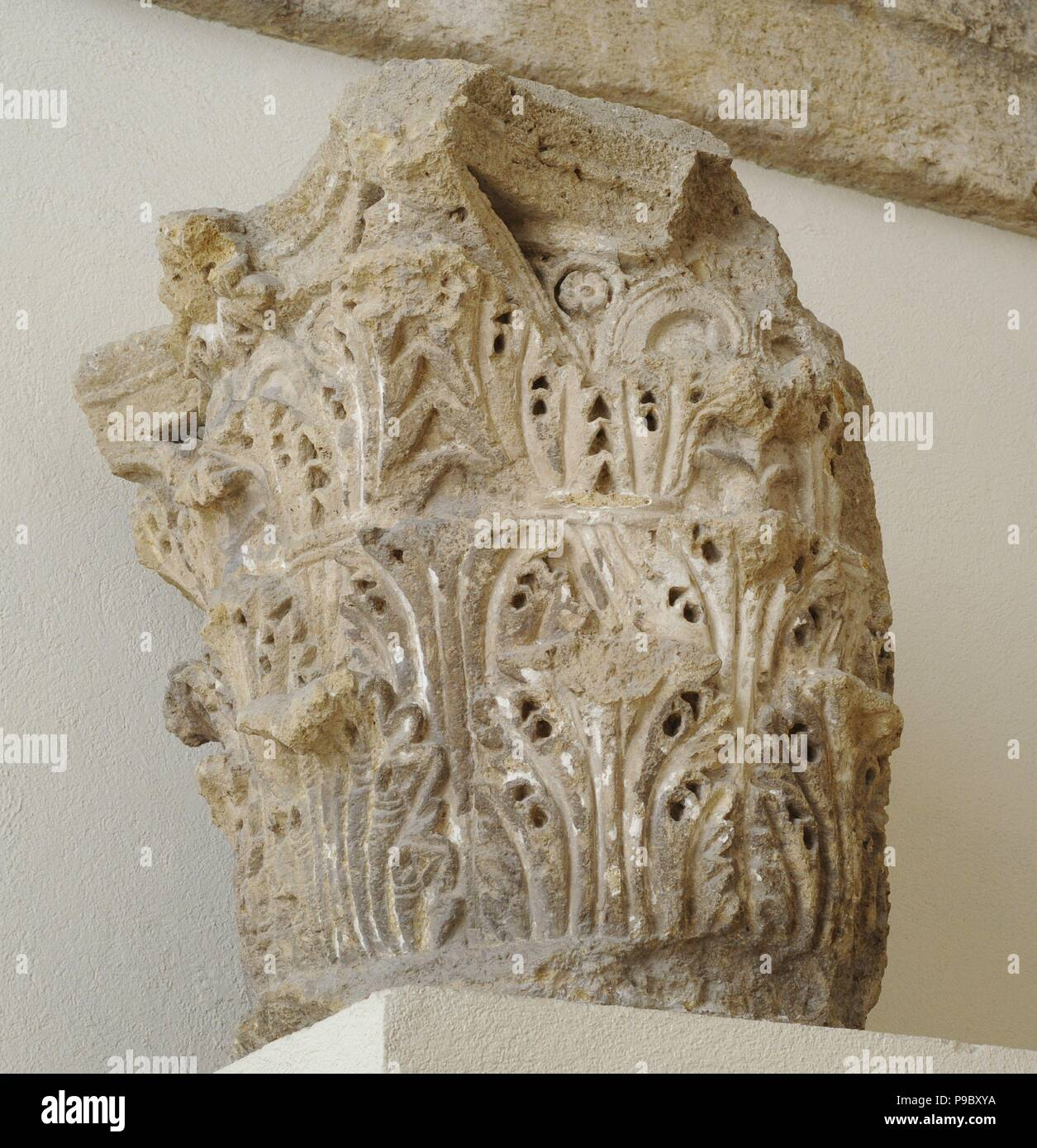 Corinthian capital decorated with acanthus leaves. From Roman theater of Tarragona. 1st Century BC-1st century AD. Spain.National Archaeological Museum. Tarragona. Catalonia, Spain. - Stock Image