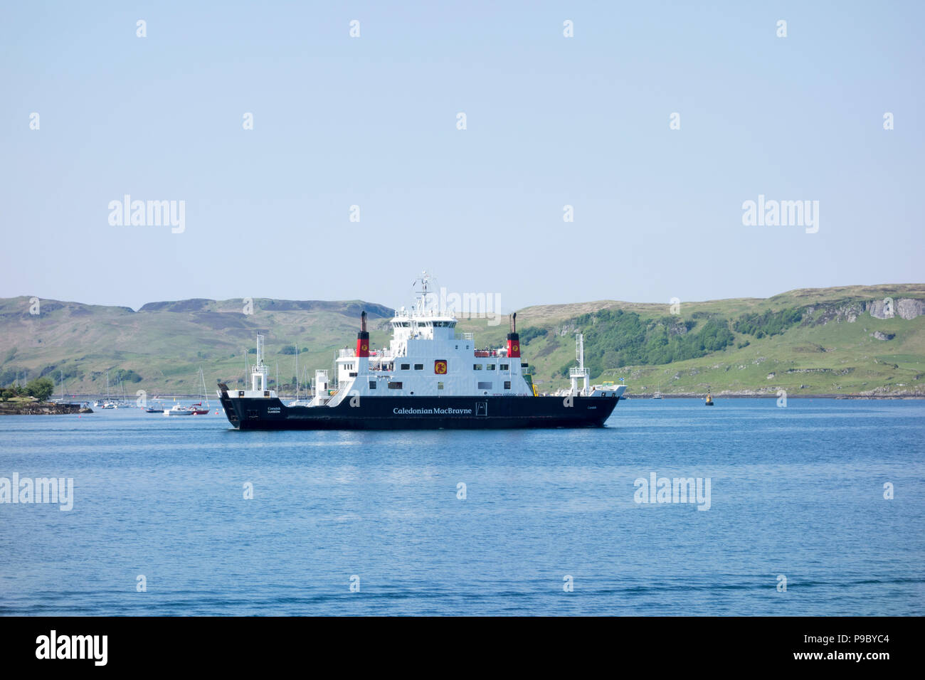 Caledonian Macbrayne the MV Coruisk Ferry approaching Oban Harbour, West Coast of Scotland, United Kingdom Stock Photo