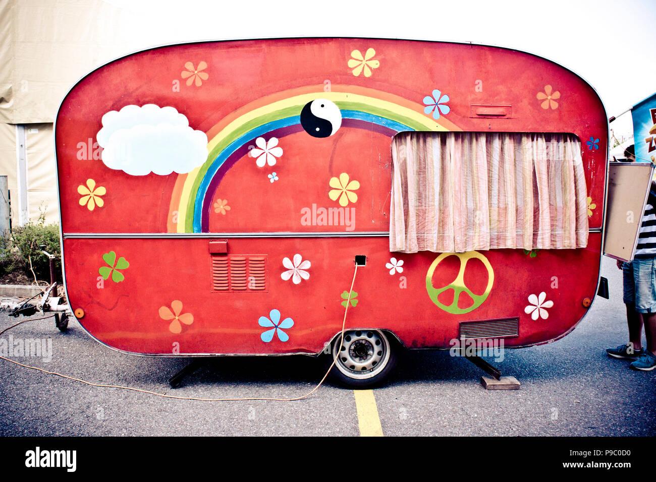 retro seventies hippie caravan for selling ice cream - Stock Image