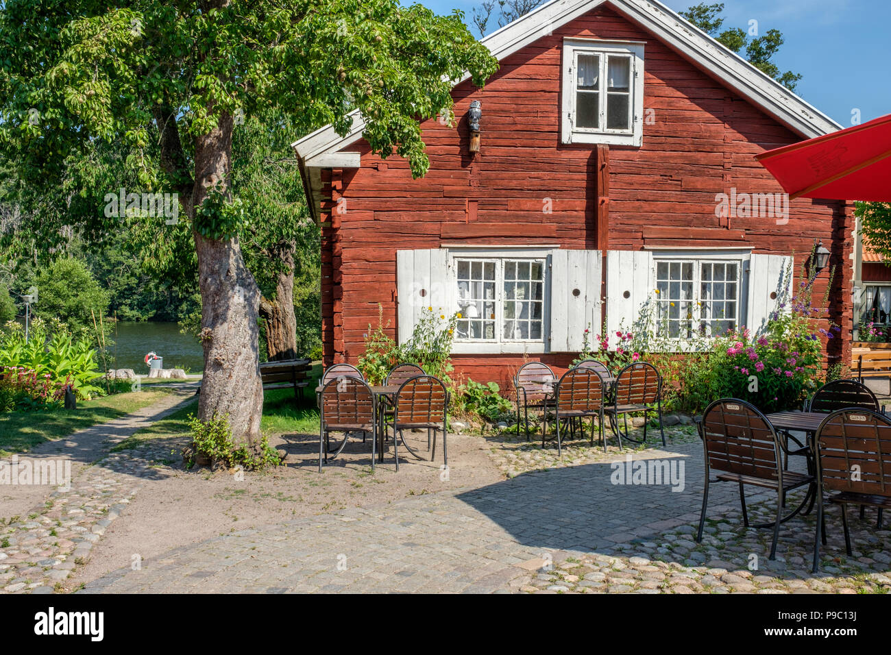 Historic Färgargården in Norrkoping. This is an open-air museum displaying a dyers life in the middle of the 19th century. - Stock Image