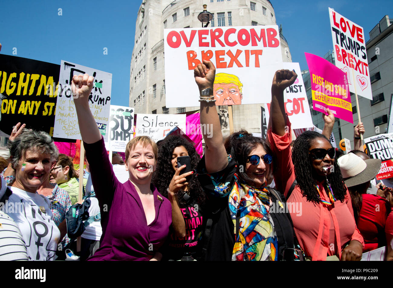 July 13th 2018.Central London. Demonstration against the visit of US President Donald Trump to England. A group of women lead the first march. - Stock Image