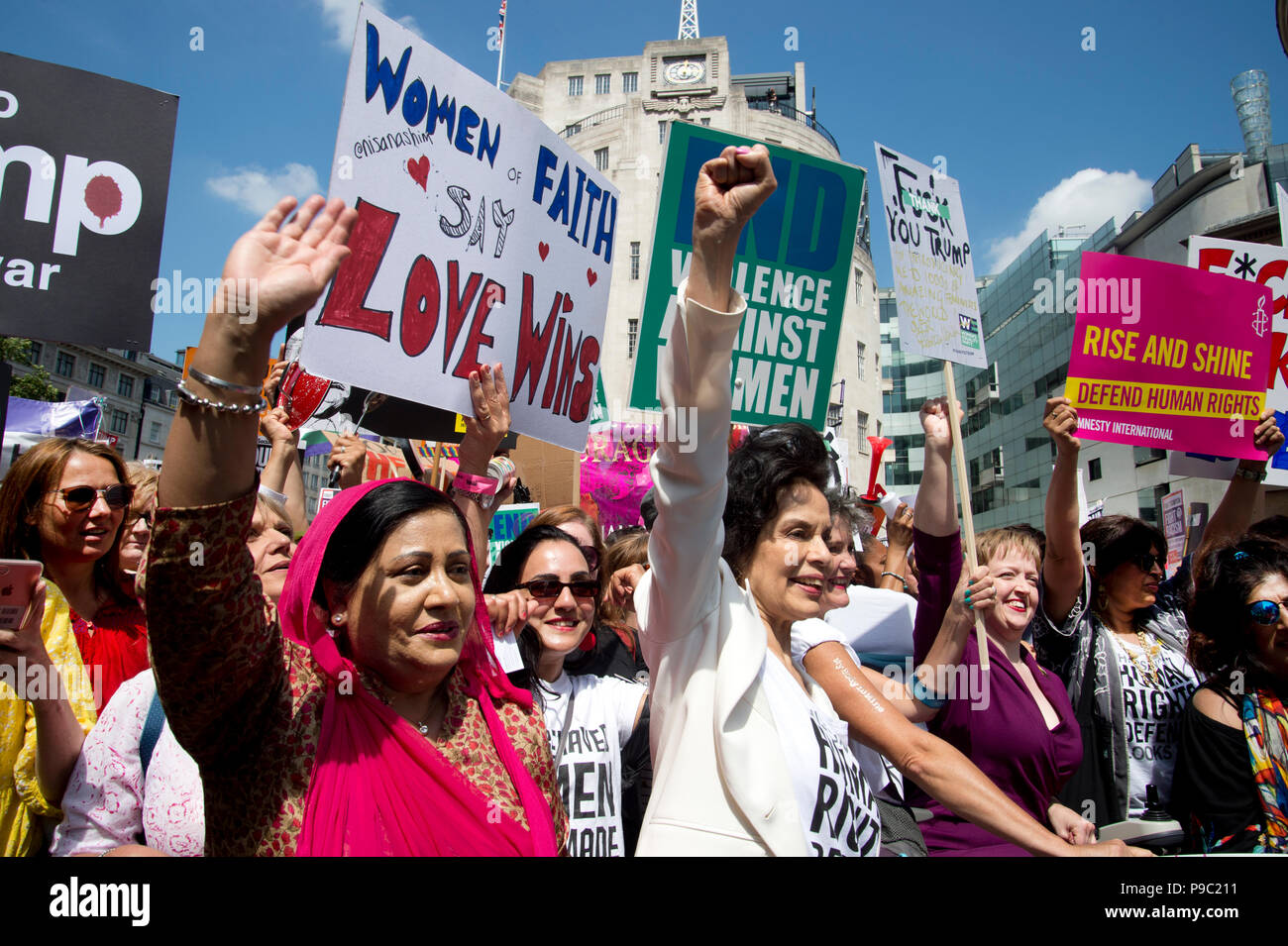 July 13th 2018.Central London. Demonstration against the visit of US President Donald Trump to England. A group of women, including Bianca Jagger, lea - Stock Image