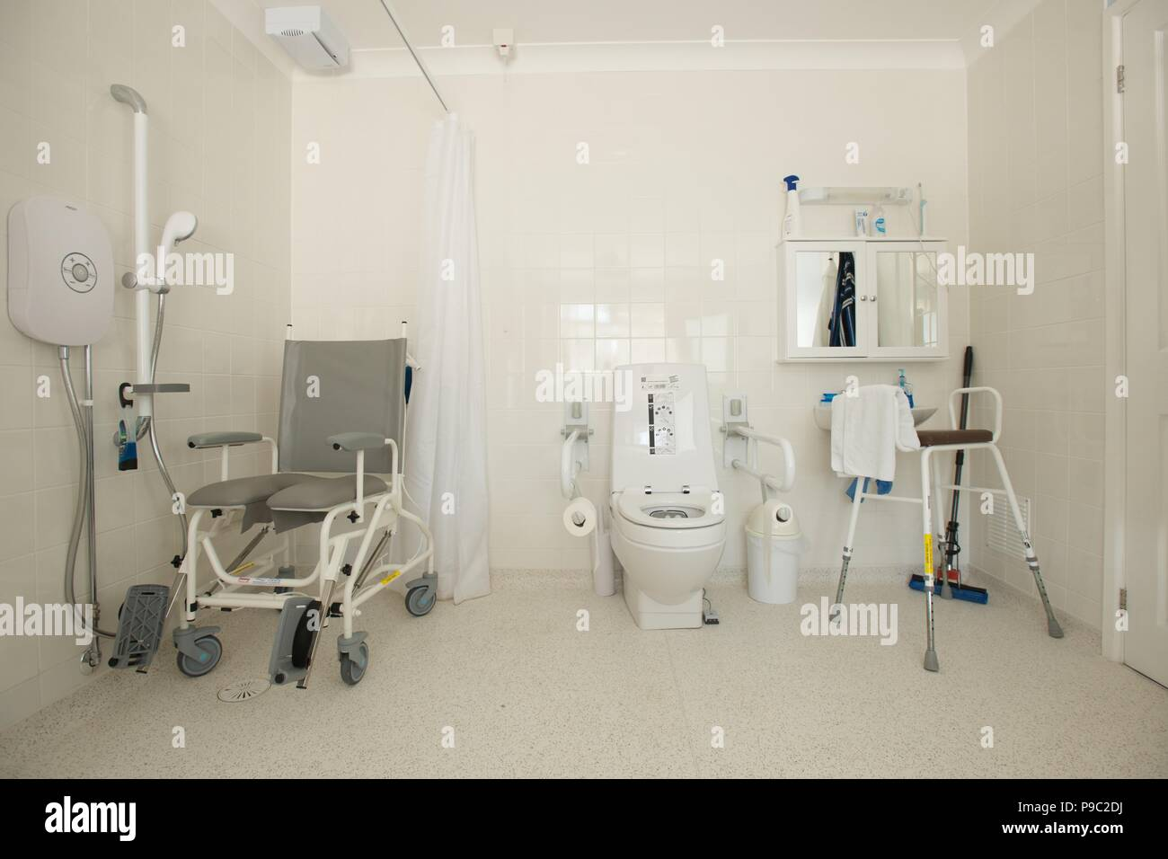 Disabled toilet and shower facility at the home of a disabled person - Stock Image