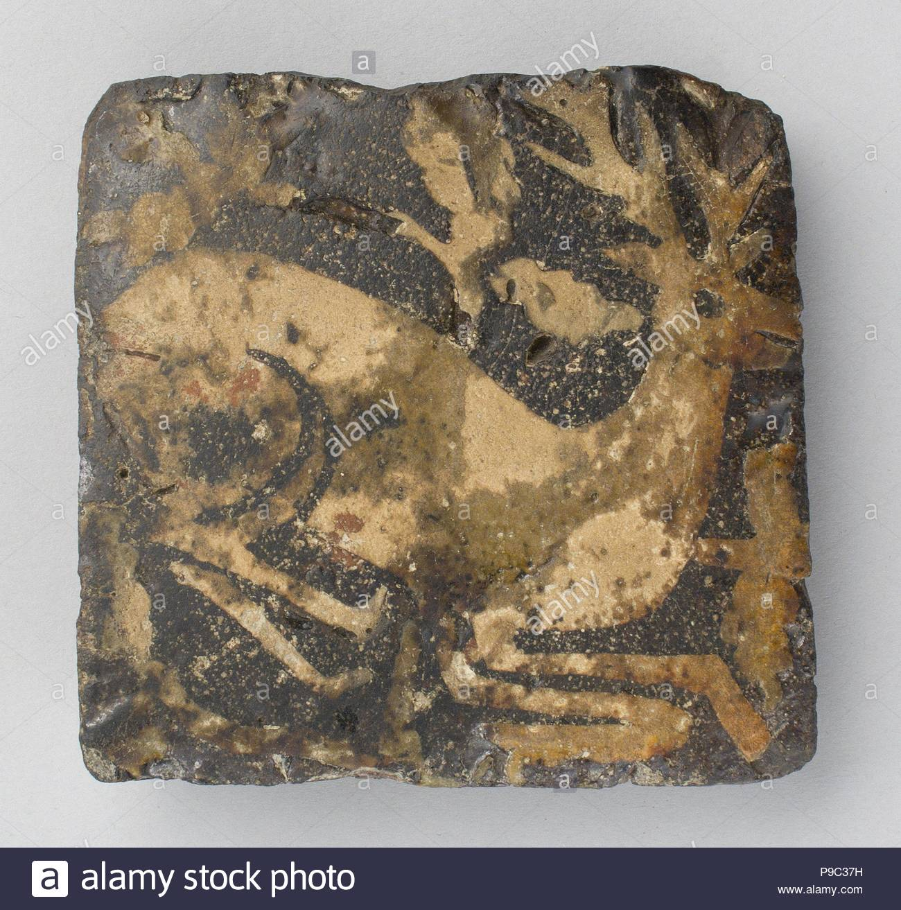 Tile with kneeling hart, late 15th century, Made in Nottingham ...
