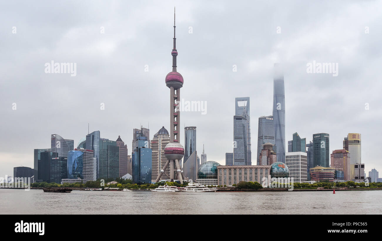 Modern high rises on a cloudy day in the New Pudong district of Shanghai, China. Stock Photo