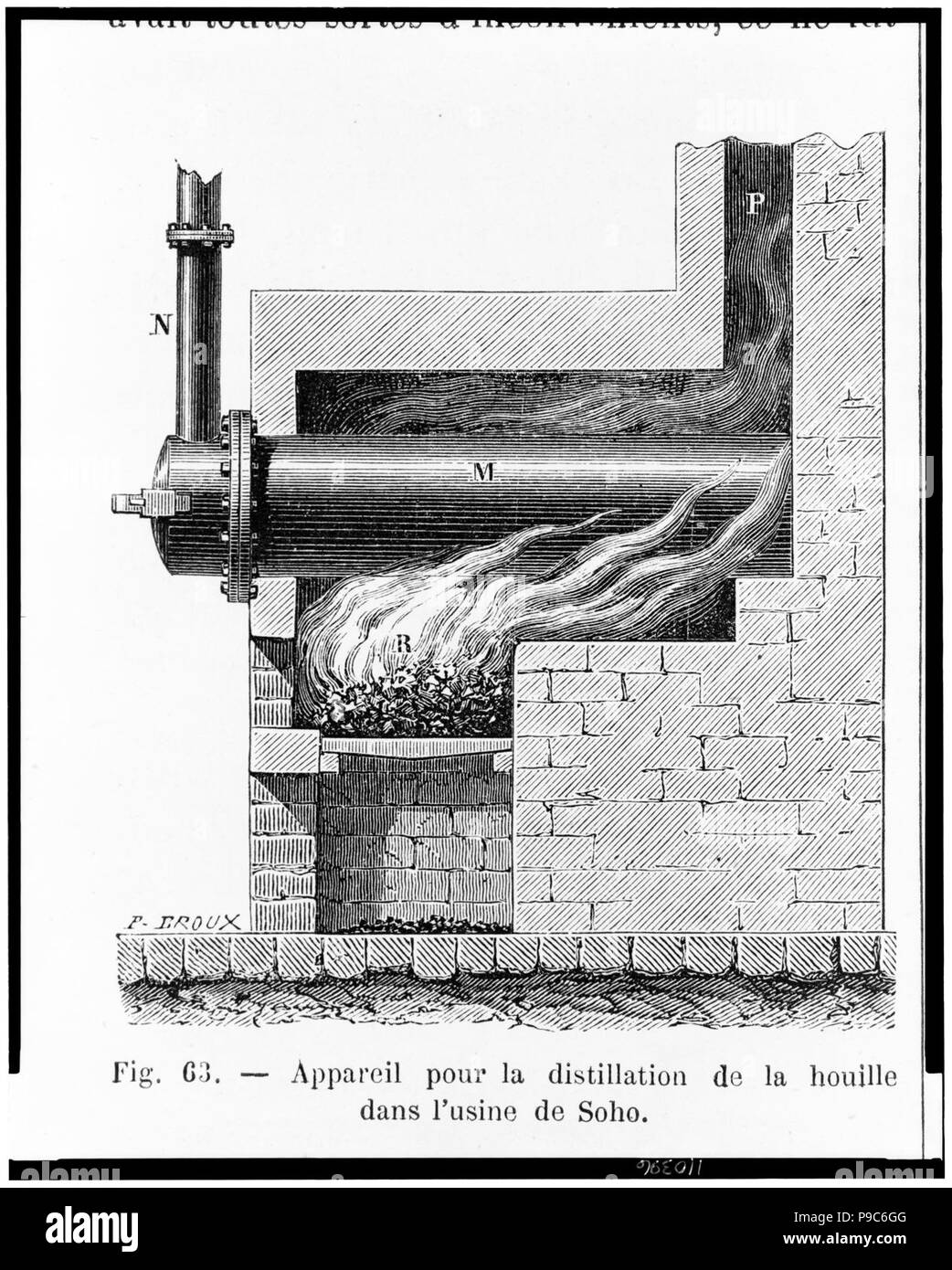 A kiln or furnace with fire heating coal in a retort to the point of decomposition, the resulting gas passing through a pipe to a system of pipes used to illuminate the Boulton and Watt - Stock Image