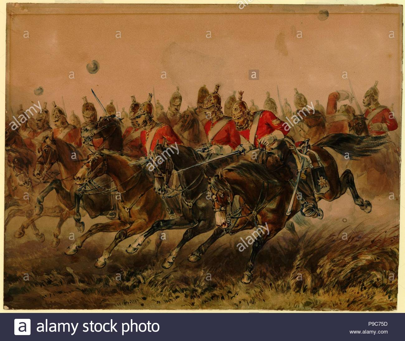 The Charge of the Light Brigade during the Battle of Balaclava. Museum: PRIVATE COLLECTION. - Stock Image