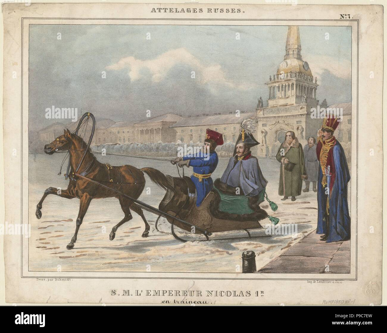 Nicholas I of Russia in a sleigh. Museum: PRIVATE COLLECTION. Stock Photo