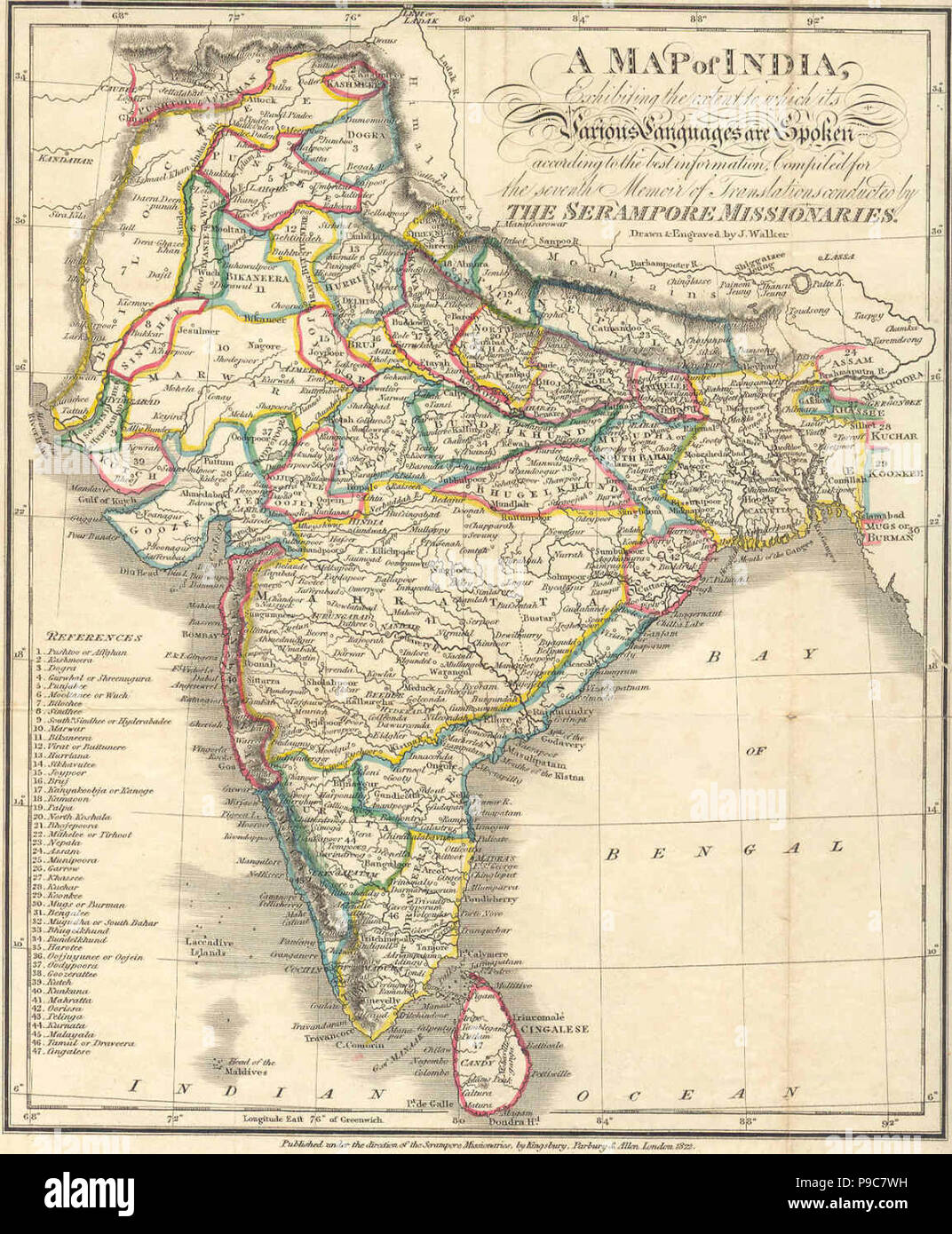 A Language Map Of India Prepared For The Missionary Projects At