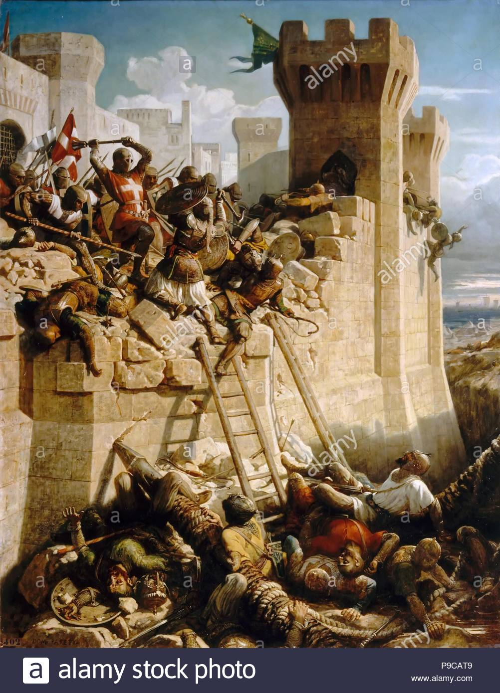 Guillaume de Clermont defending the walls at the Siege of Acre, 1291.  Museum: Musée de l'Histoire de France, Château de Versailles.
