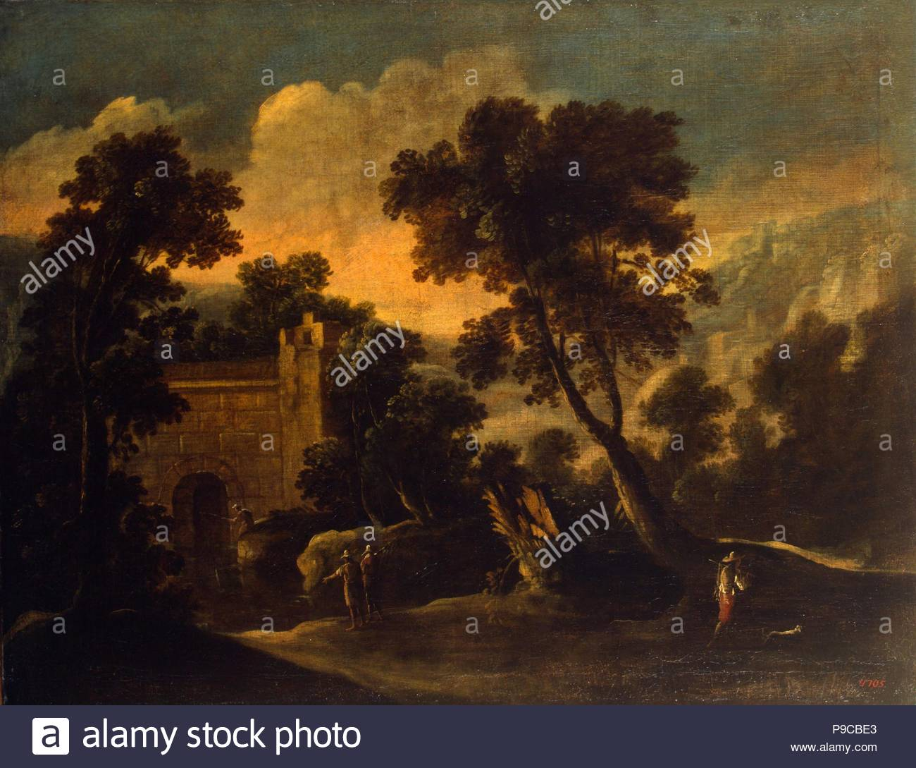 Landscape with Ruins. Museum: State Hermitage, St. Petersburg. - Stock Image