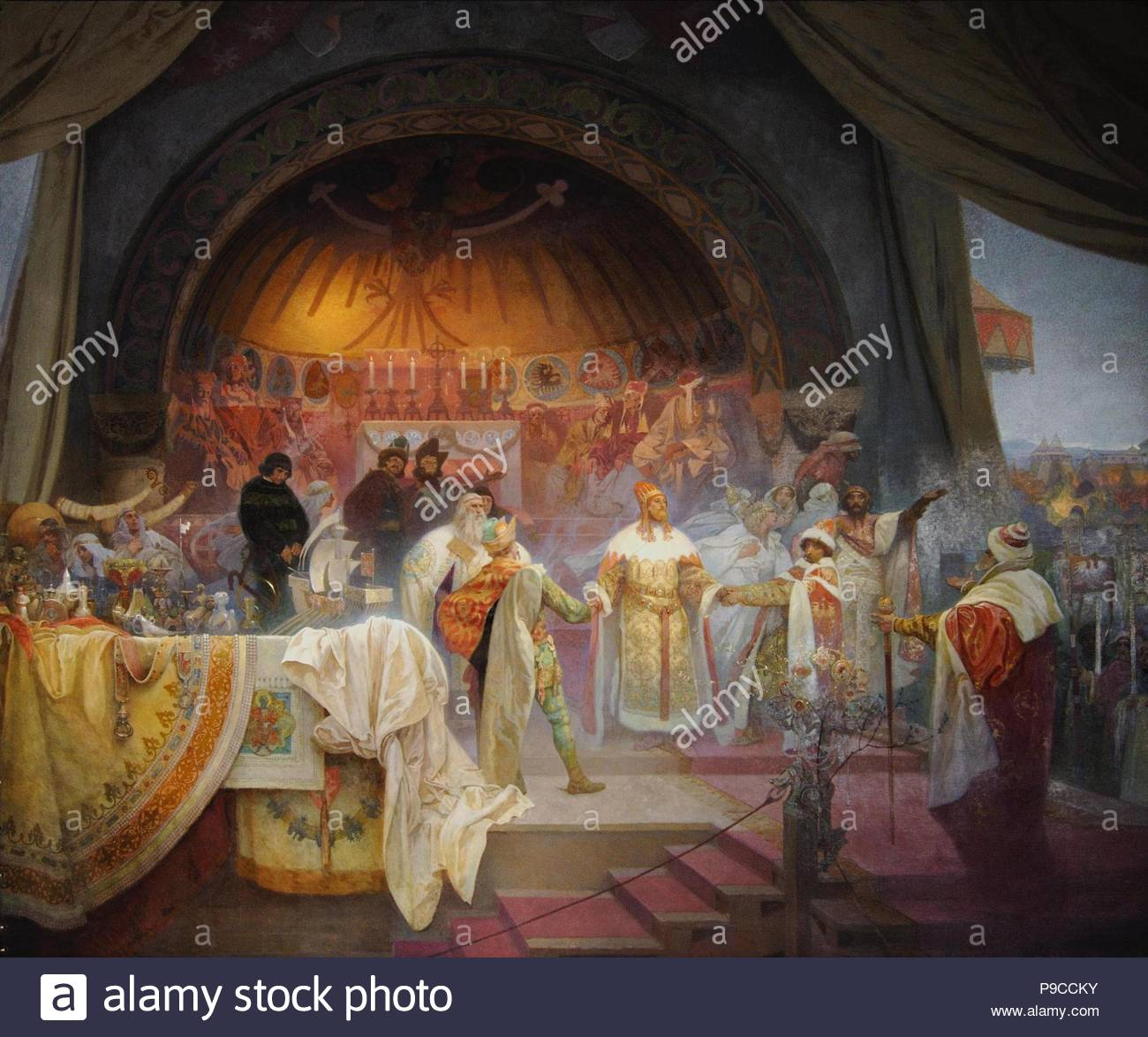 Ottokar II of Bohemia. The Union of Slavic Dynasties (The cycle The Slav Epic). Museum: City Gallery Prague. - Stock Image