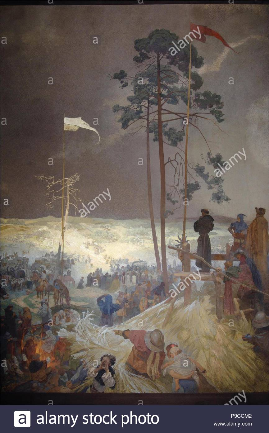 The Meeting Na Krizkach  (The cycle The Slav Epic). Museum: City Gallery Prague. - Stock Image