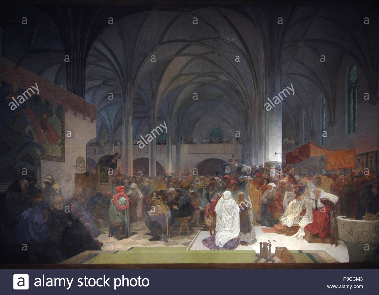 Master Jan Hus Preaching at the Bethlehem Chapel (The cycle The Slav Epic). Museum: City Gallery Prague. - Stock Image