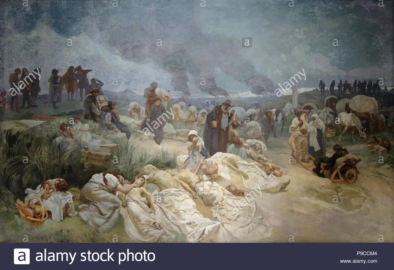 Petr Chelcicky at Vodnany (The cycle The Slav Epic). Museum: City Gallery Prague. - Stock Image