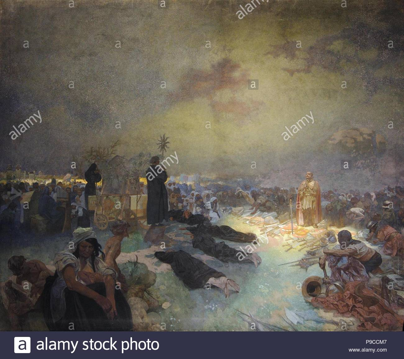 After the Battle of Vítkov Hill (The cycle The Slav Epic). Museum: City Gallery Prague. - Stock Image
