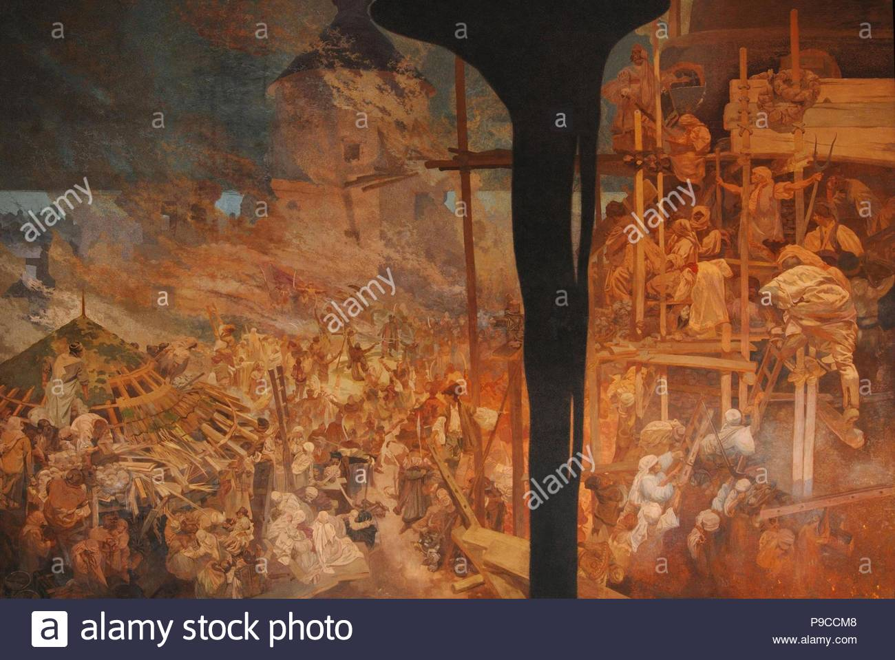 The Defense of Sziget against the Turks by Nicholas Zrinsky (The cycle The Slav Epic). Museum: City Gallery Prague. - Stock Image