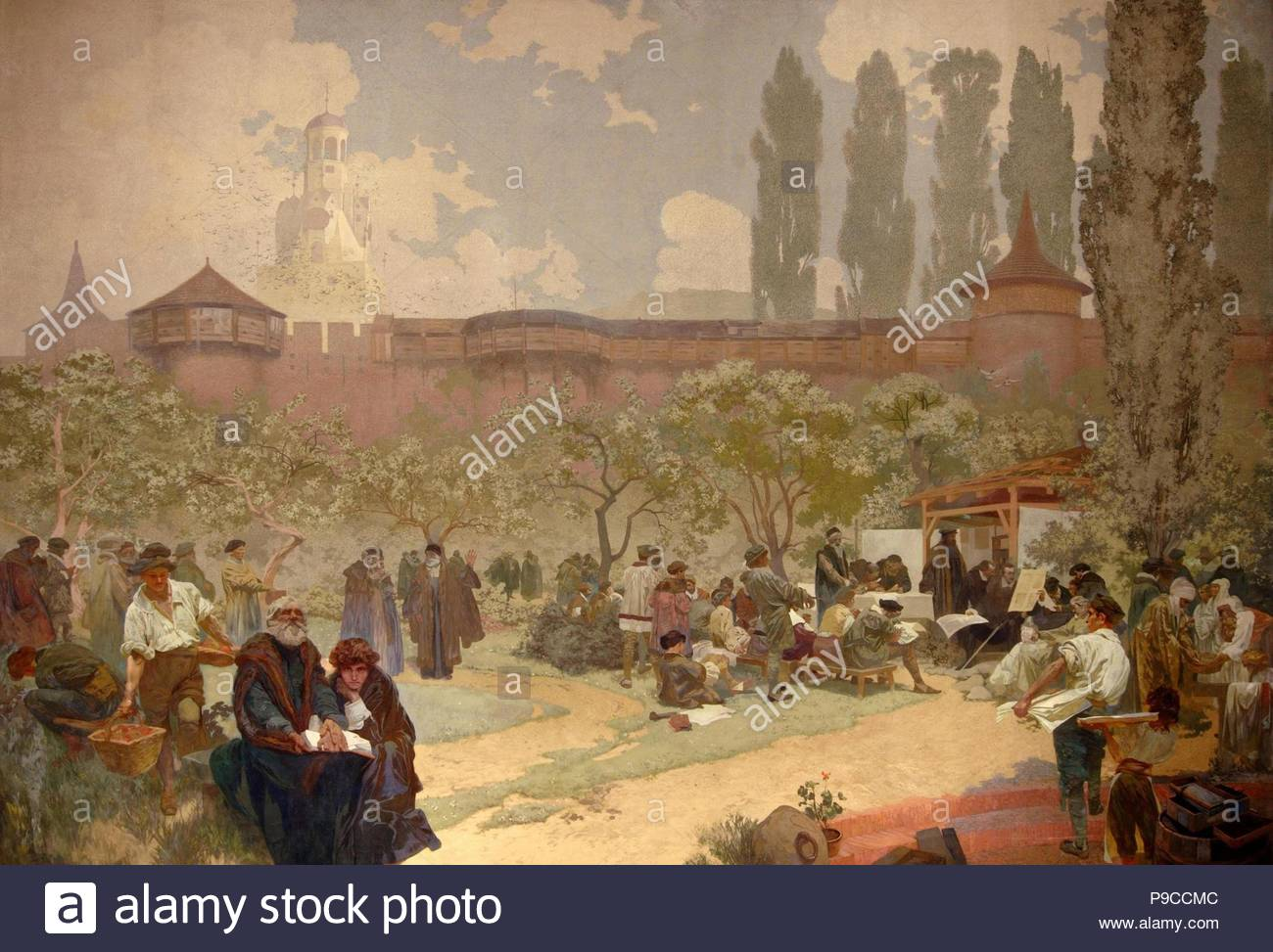 The Printing of the Bible of Kralice in Ivancice (The cycle The Slav Epic). Museum: City Gallery Prague. - Stock Image