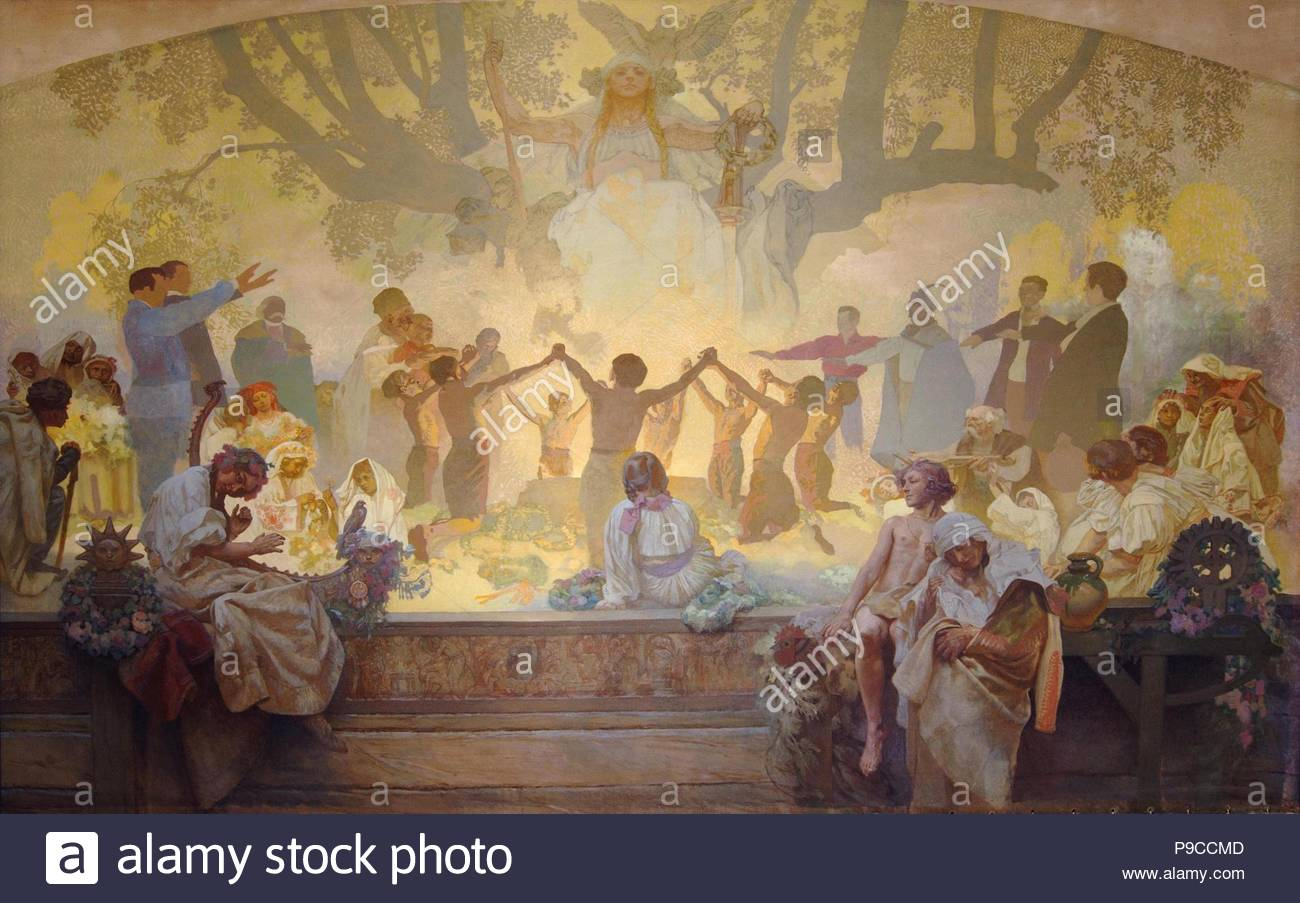 The Oath of Omladina Under the Slavic Linden Tree (The cycle The Slav Epic). Museum: City Gallery Prague. - Stock Image