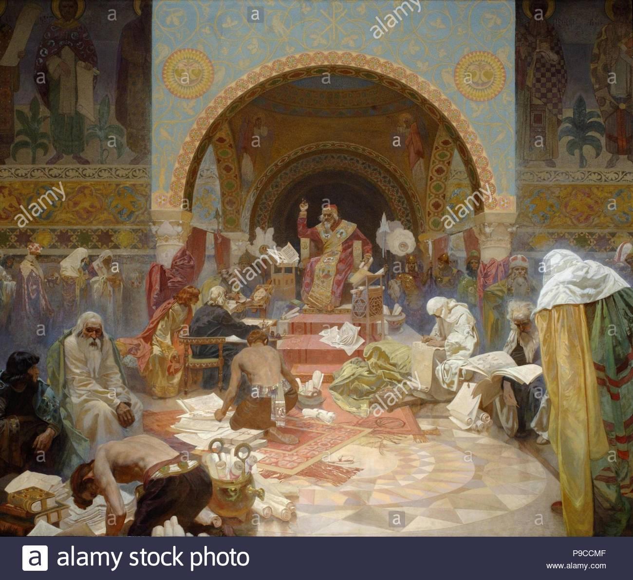 The Bulgarian Tsar Simeon (The cycle The Slav Epic). Museum: City Gallery Prague. - Stock Image
