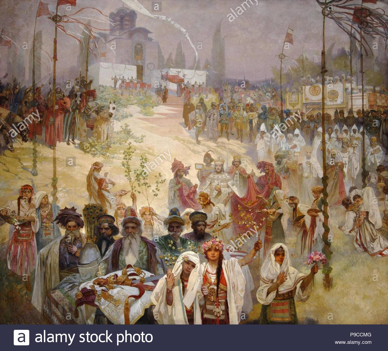 The Coronation of the Serbian Tsar Stefan Dusan as East Roman Emperor (The cycle The Slav Epic). Museum: City Gallery Prague. - Stock Image