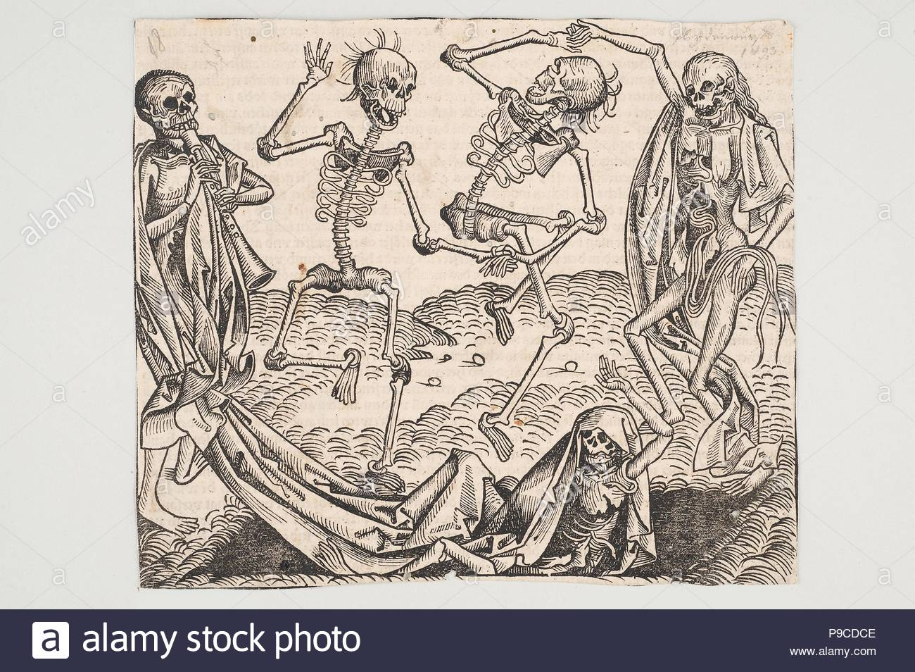 Dance of Death (from the Schedel's Chronicle of the World). Museum: Universalmuseum Joanneum. - Stock Image
