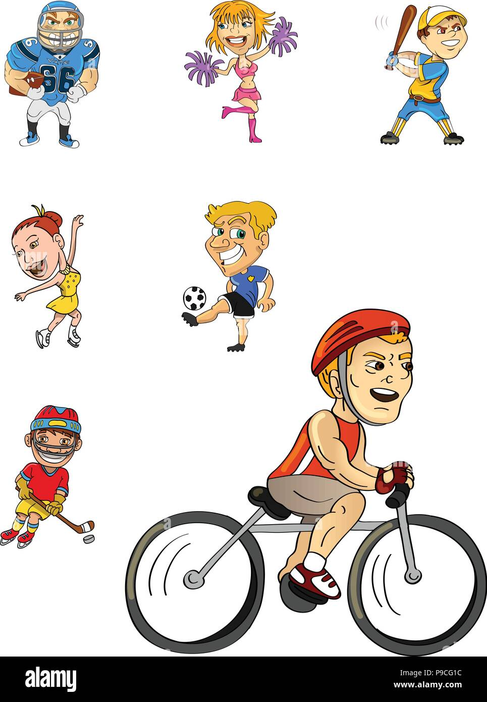 cartoon vector illustration of an athletes collection - Stock Vector