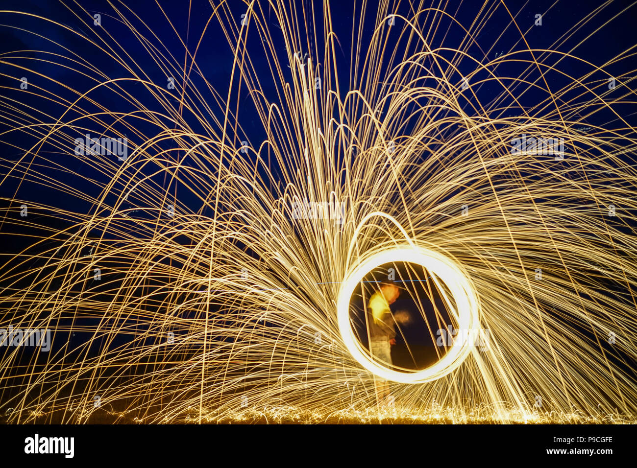 Ring of fire with long exposure at night. Light background. - Stock Image