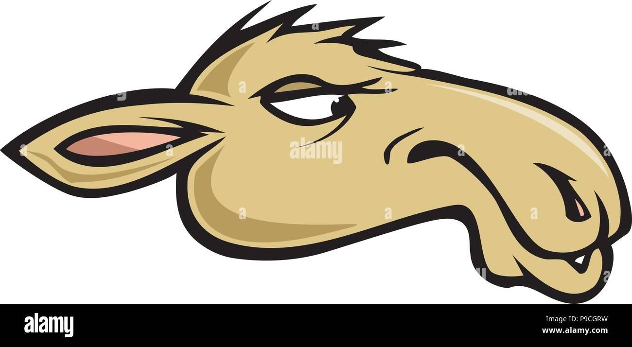 cartoon vector illustration of a camel head Stock Vector Art