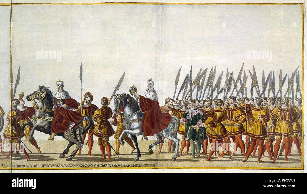 Ceremonial Procession in Bologna on the Occasion of Charles V's Coronation. Sheet 25-26. Museum: State Hermitage, St. Petersburg. Stock Photo