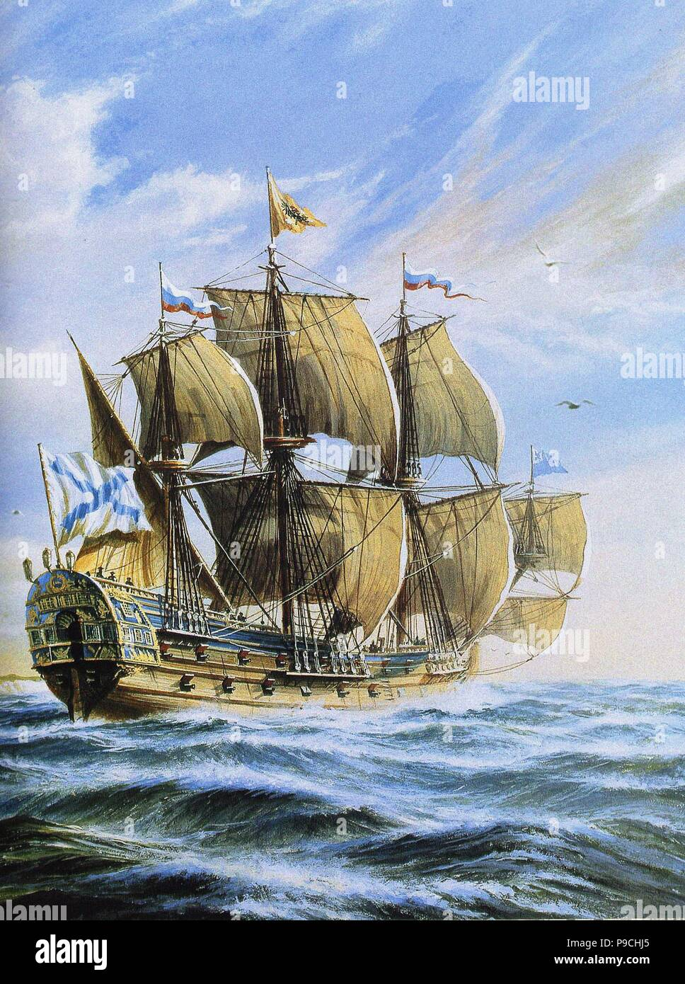 Russian ship of the line Poltava, 1712. Museum: Russian State Library, Moscow. Stock Photo