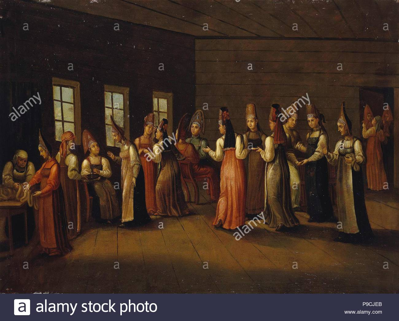 Eve-of-the-wedding party in a Merchant's House. Museum: State Hermitage, St. Petersburg. - Stock Image