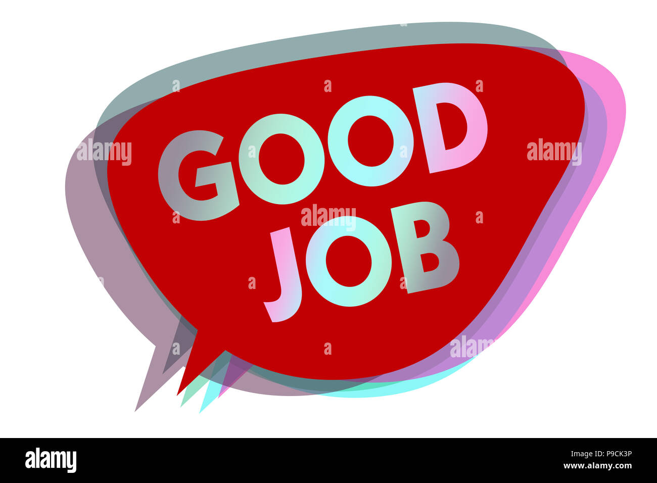 Word writing text Good Job. Business concept for encourage someone for his effort hard work winning or success speech bubble idea message reminder red - Stock Image