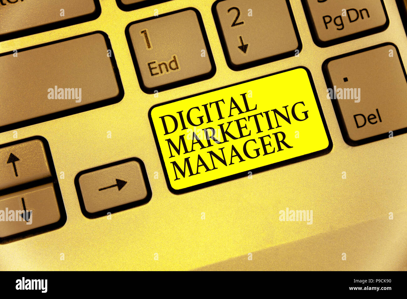 Conceptual hand writing showing Digital Marketing Manager. Business photo showcasing optimized for posting in online boards or careers Keyboard yellow - Stock Image