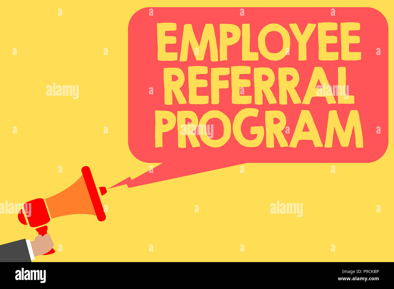 Handwriting text Employee Referral Program  Concept meaning