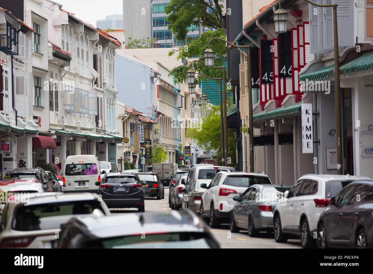 Shophouses in Singapore - Stock Image
