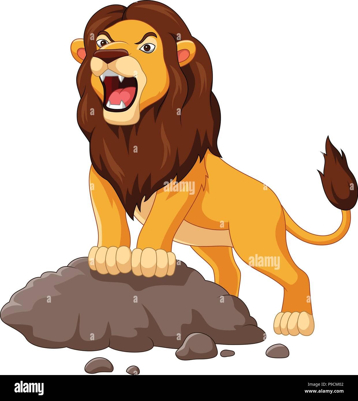 Cartoon Lion Roaring Isolated On White Background Stock Vector Image Art Alamy