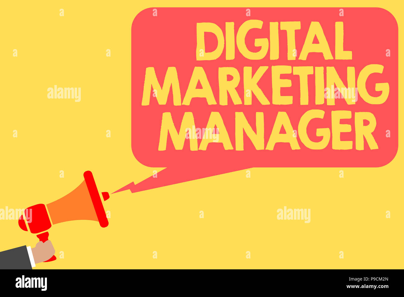Handwriting text Digital Marketing Manager. Concept meaning optimized for posting in online boards or careers Man holding megaphone loudspeaker speech - Stock Image