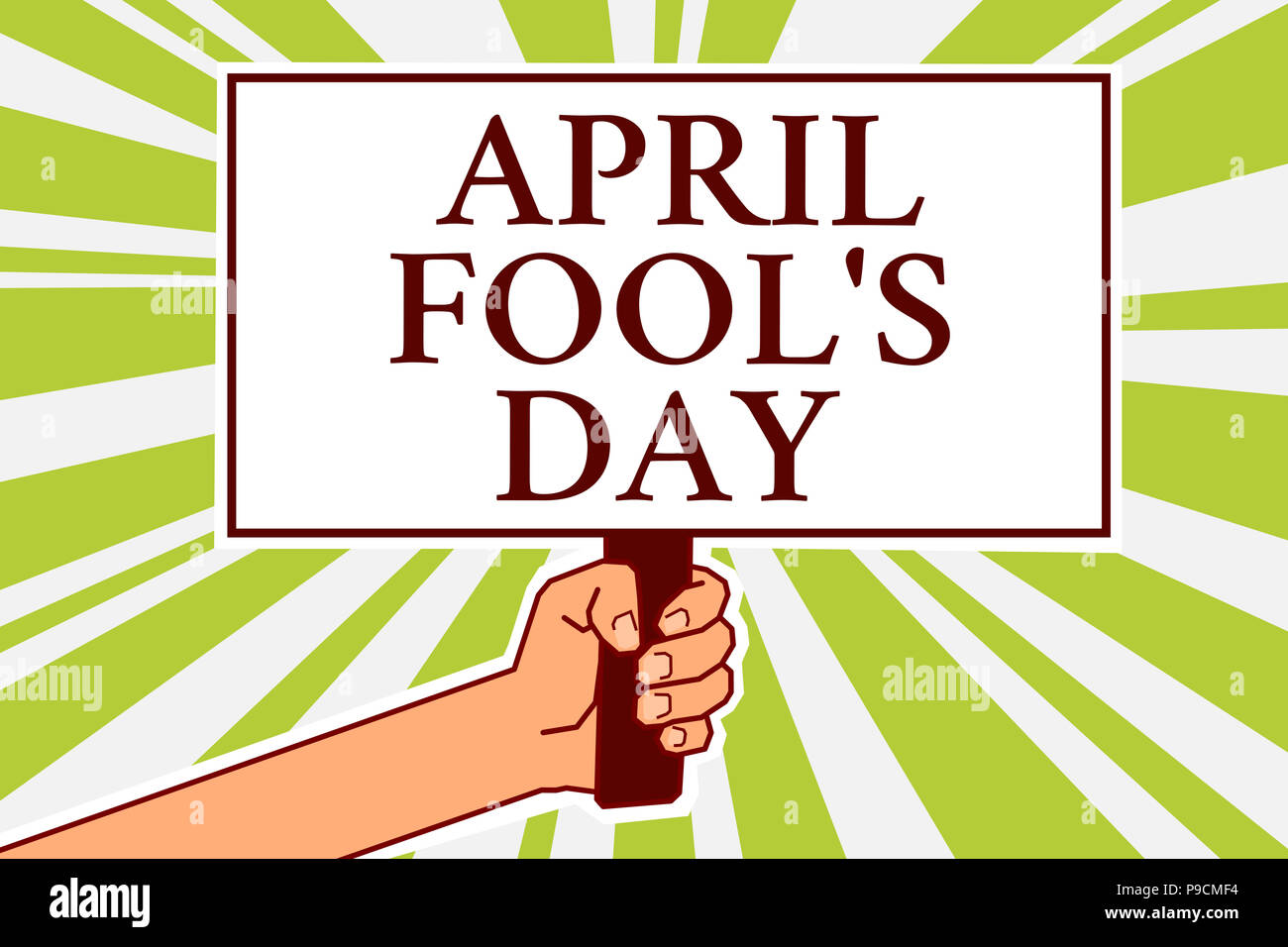 Word writing text April Fool s is Day. Business concept for Practical jokes humor pranks Celebration funny foolish Notice board symbol scripted text i - Stock Image