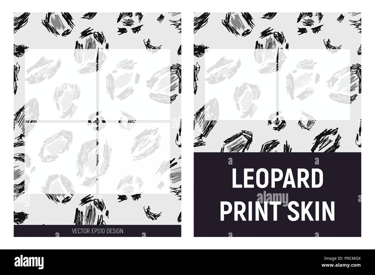 Gray and black leopard print skin - Stock Vector