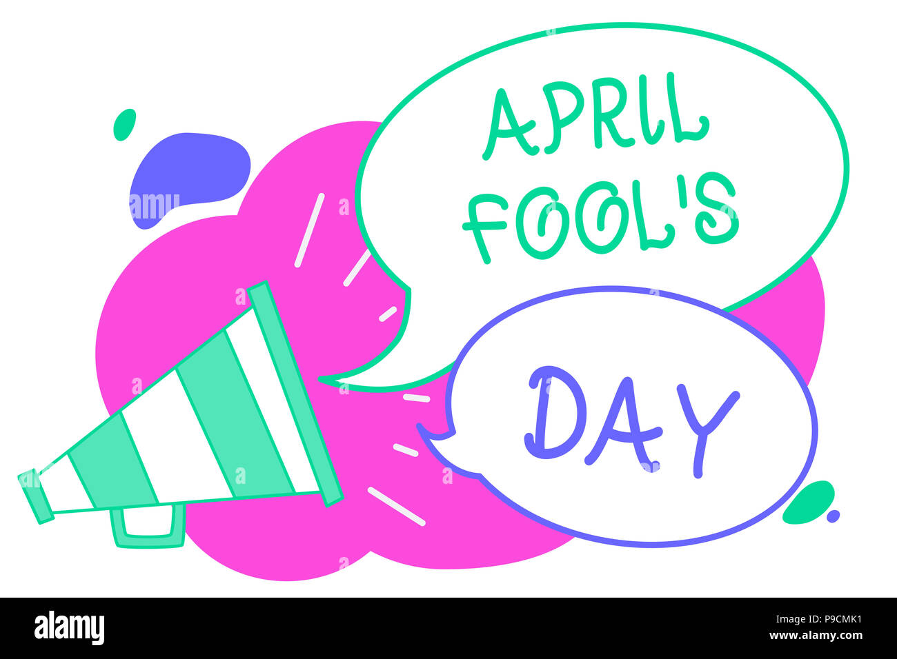 Writing note showing April Fool s is Day. Business photo showcasing Practical jokes humor pranks Celebration funny foolish Creative multiple bubble cl - Stock Image