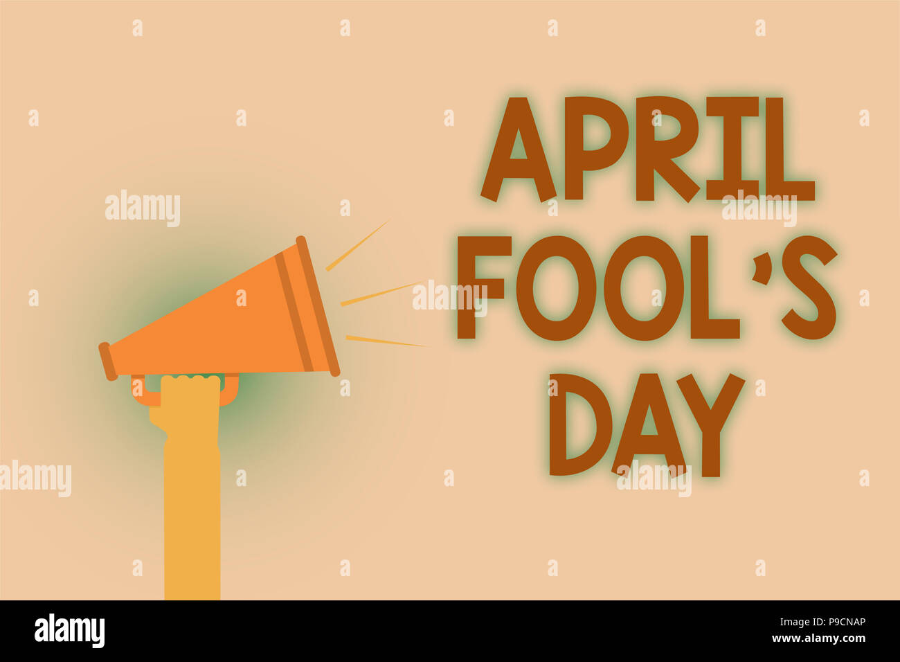 Word writing text April Fool s is Day. Business concept for Practical jokes humor pranks Celebration funny foolish Hand brown loud speaker sound publi - Stock Image