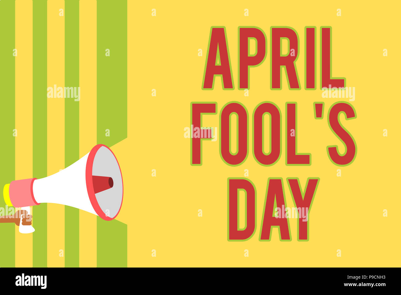 Handwriting text writing April Fool s is Day. Concept meaning Practical jokes humor pranks Celebration funny foolish Multiple lines script message ide - Stock Image