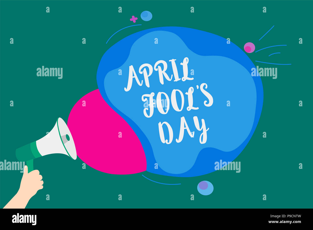 Word writing text April Fool s is Day. Business concept for Practical jokes humor pranks Celebration funny foolish Convey message idea speaker alarm a - Stock Image