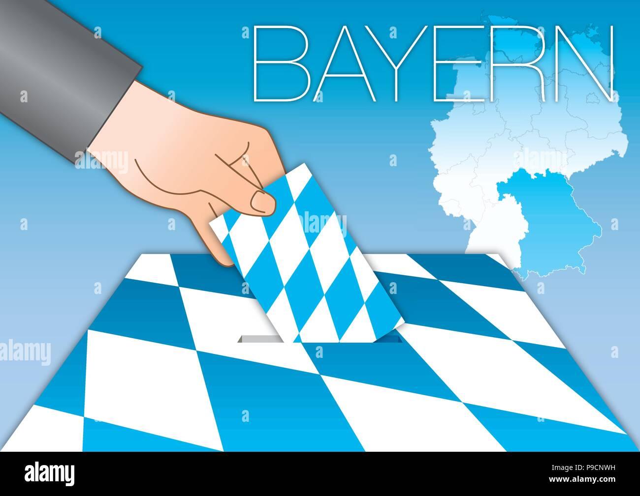 Bavaria Bayern voting ballot box with flag and symbols - Stock Vector