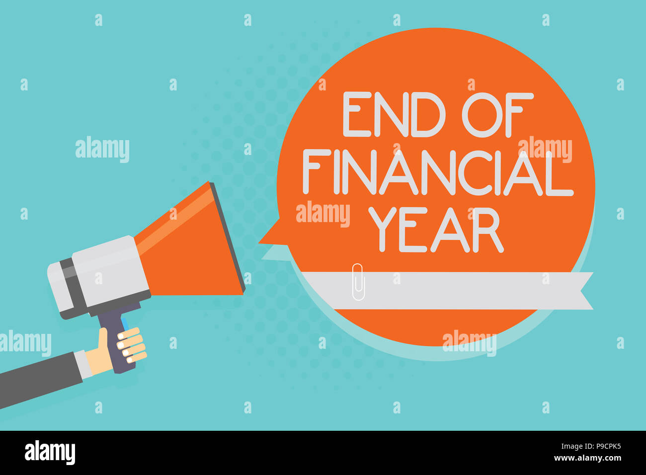 Writing note showing End Of Financial Year. Business photo showcasing Revise and edit accounting sheets from previous year Attention warning hot socia - Stock Image