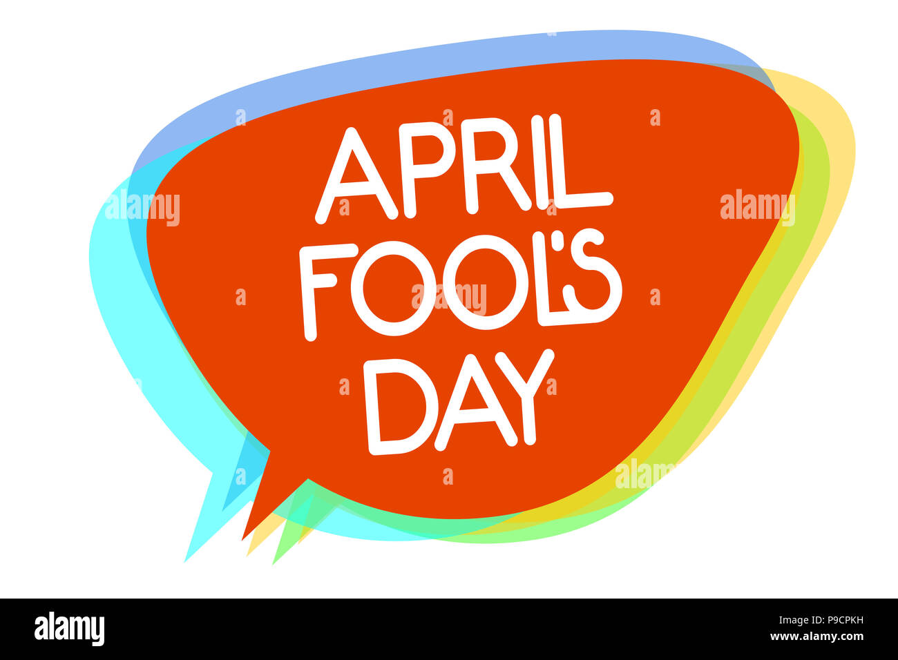 Conceptual hand writing showing April Fool s is Day. Business photo showcasing Practical jokes humor pranks Celebration funny foolish Multiline text l - Stock Image